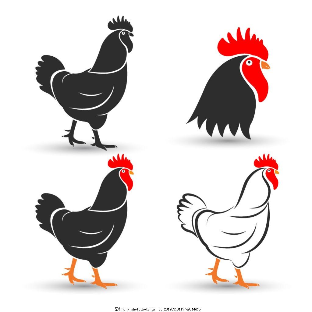 手绘简约公鸡图案