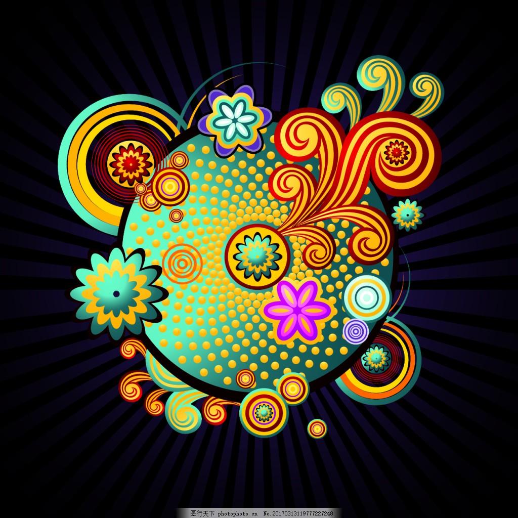 地球花纹素材 矢量背景 抽象花纹 服装 纹理 矢量花纹 卡通 欧美花纹图片