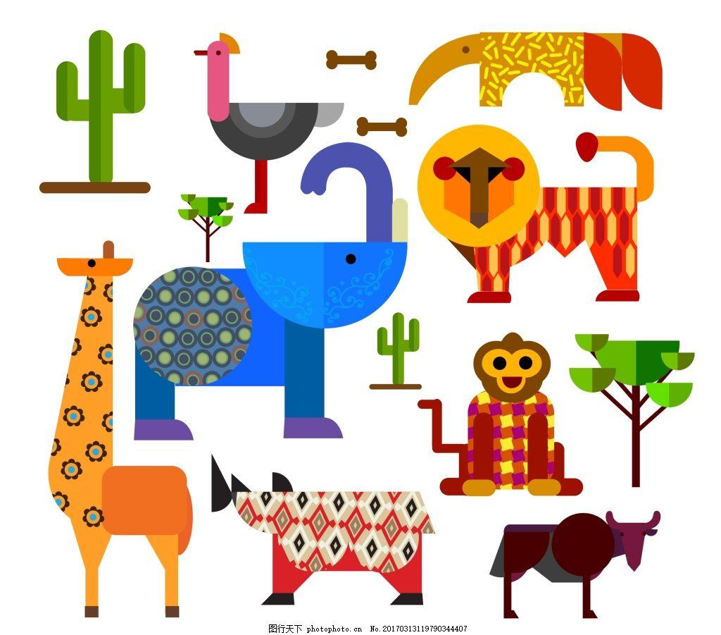 几何平面的非洲动物