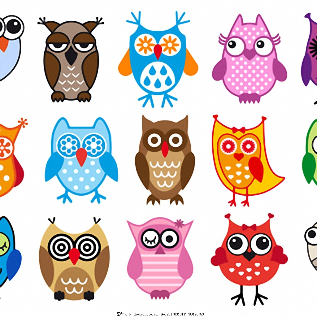 可爱的猫头鹰图标矢量素材 卡通 可爱 猫头鹰 图标 矢量图 素材 源