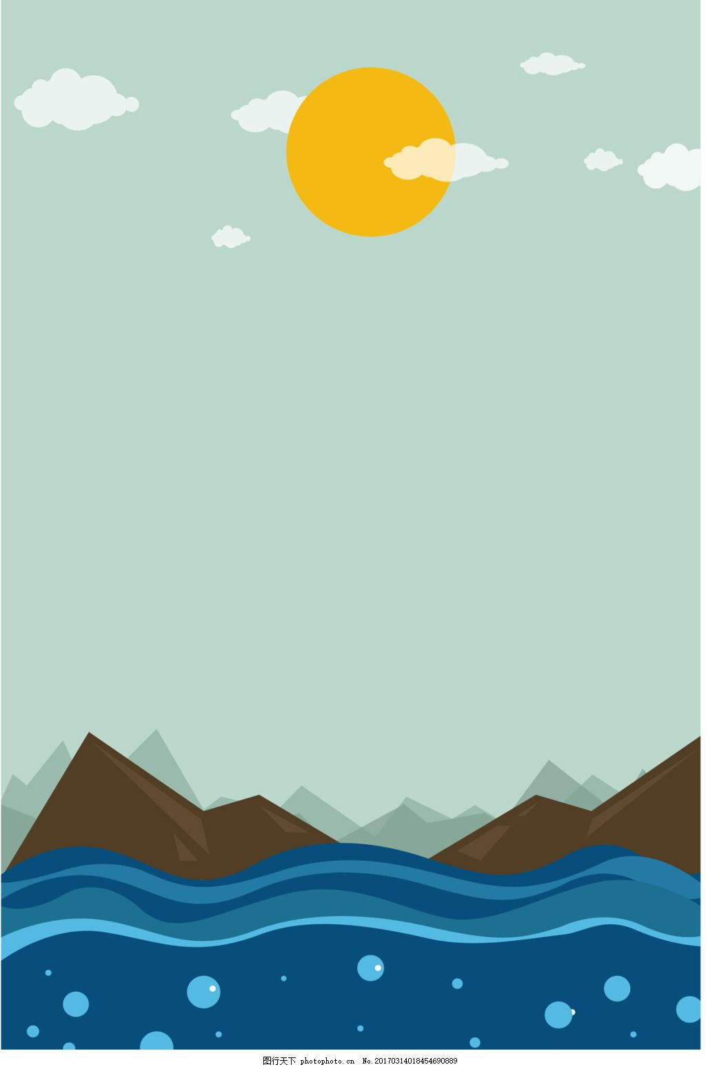 大海风景插画 山峰 太阳 云朵