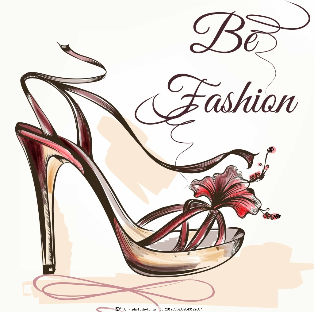 时尚的高跟鞋 手绘 美丽