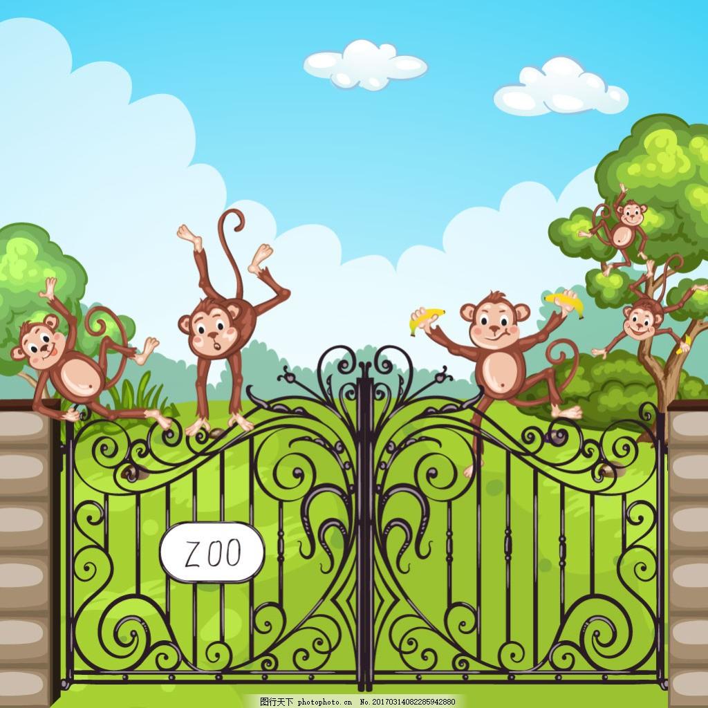 动物园铁门上 调皮的猴子