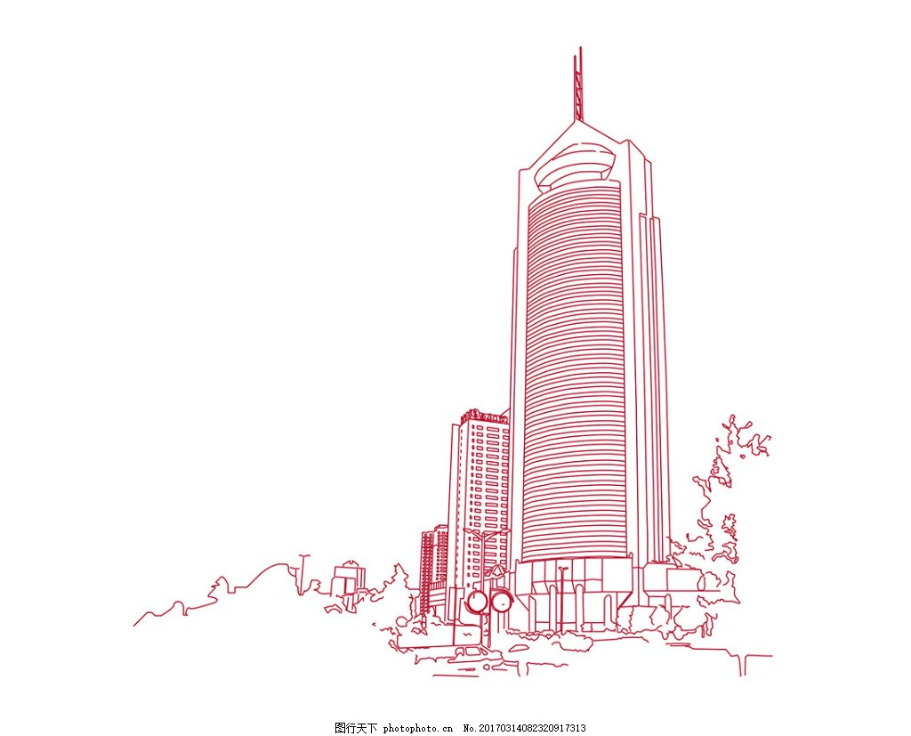 手绘高楼大厦一景
