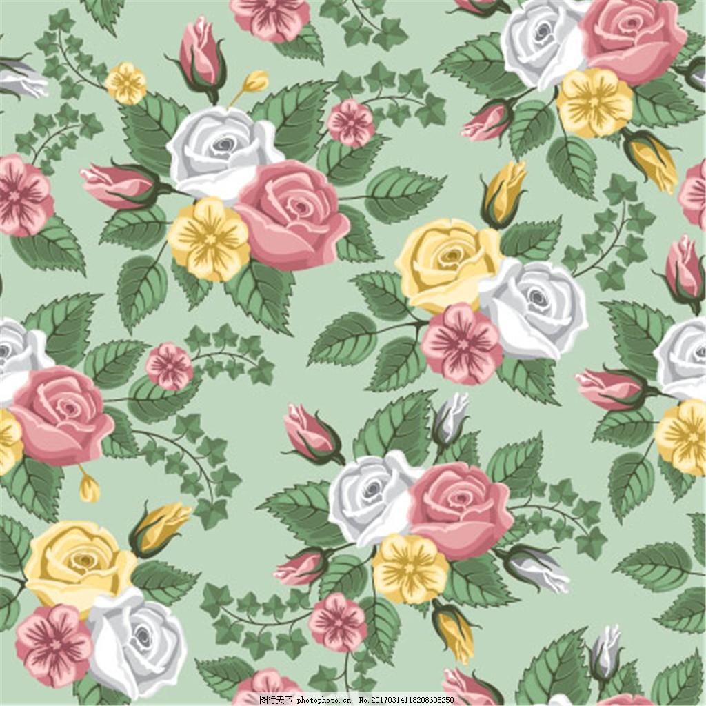 复古玫瑰花背景素材 花卉背景 花卉花朵 手绘花卉 复古花卉 手绘玫瑰