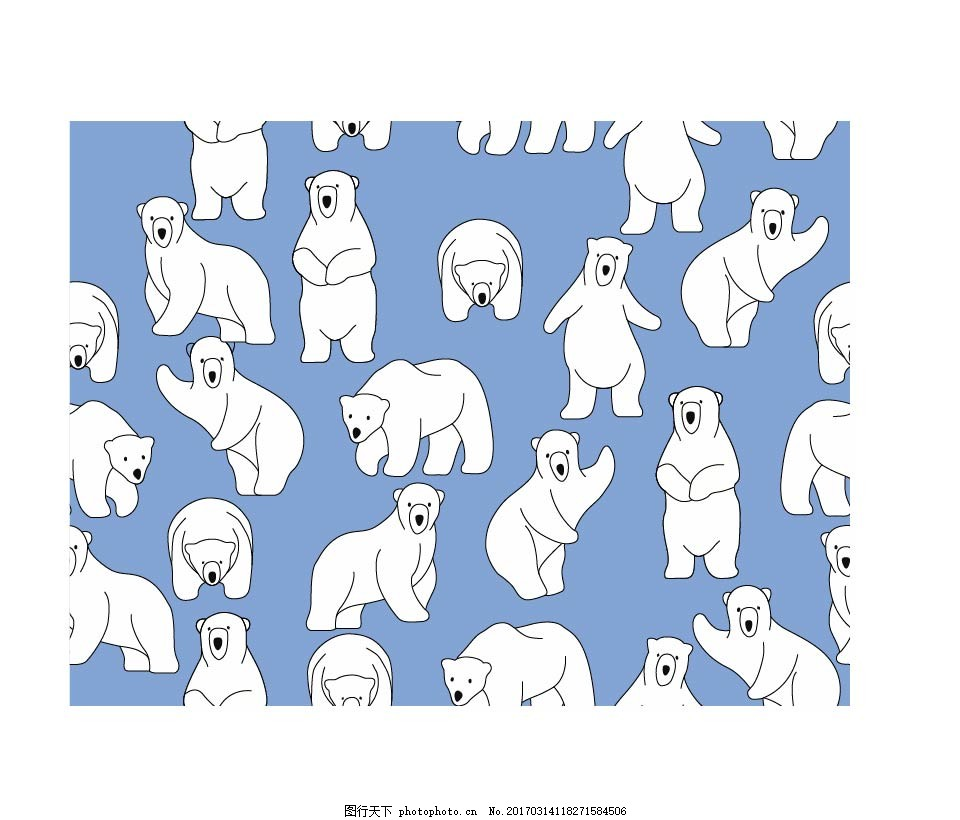 北极熊循环背景 动物 儿童简笔画 卡通背景卡通动物卡通动物形象卡通