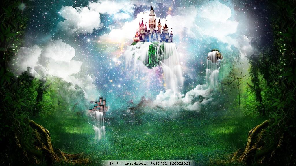 原创梦幻彩色空中城堡背景