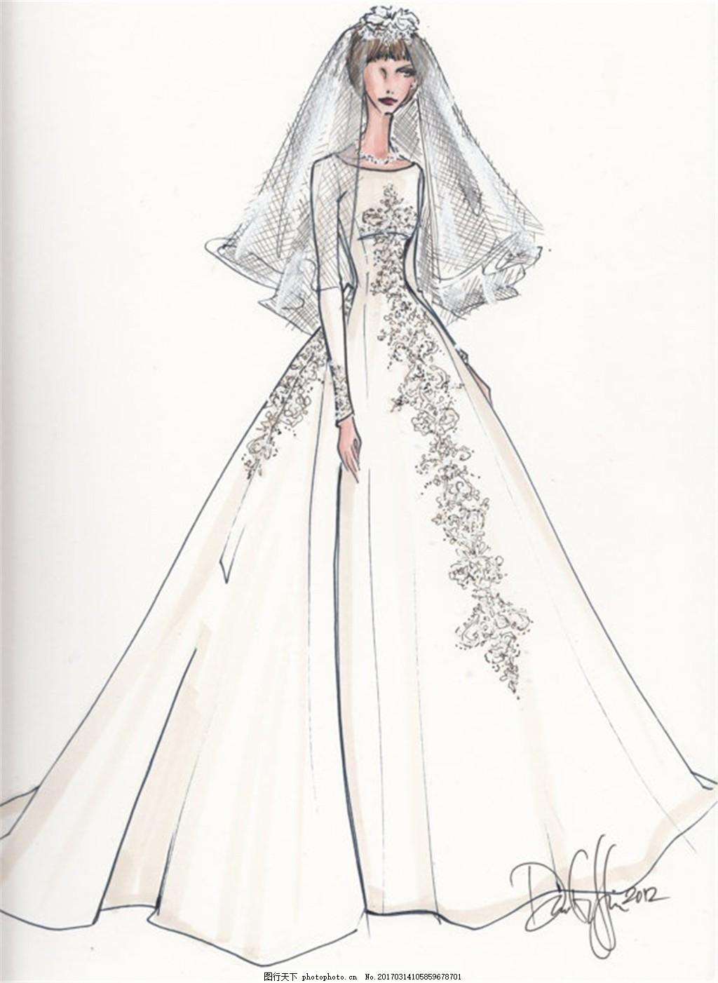 设计图库 现代科技 服装设计  白色婚纱裙设计图 服装设计 时尚女装
