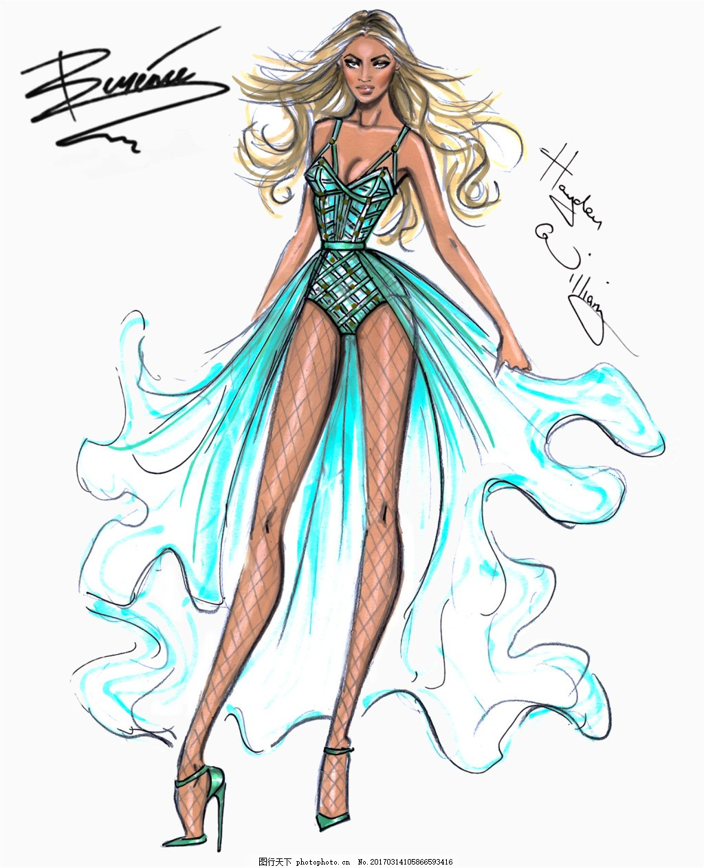 蓝色性感鱼尾裙设计图