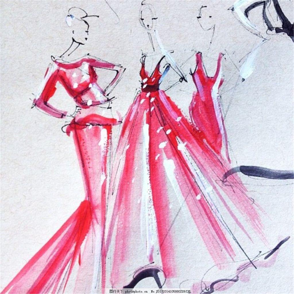 3款红色礼服设计图