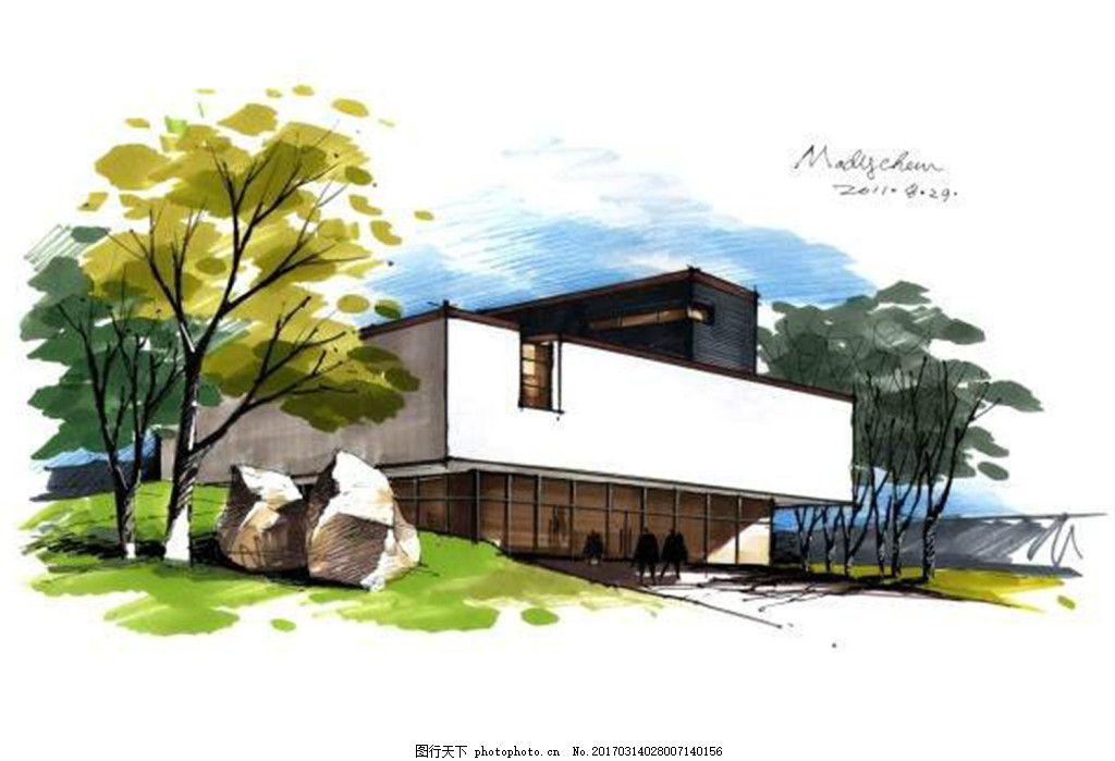 别墅绿化效果图 建筑效果图图片下载 手绘图 平面图 图纸 城堡