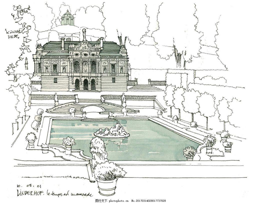 欧式建筑泳池效果图 建筑平面图素材免费下载 手绘图 图纸 建筑 平面图片