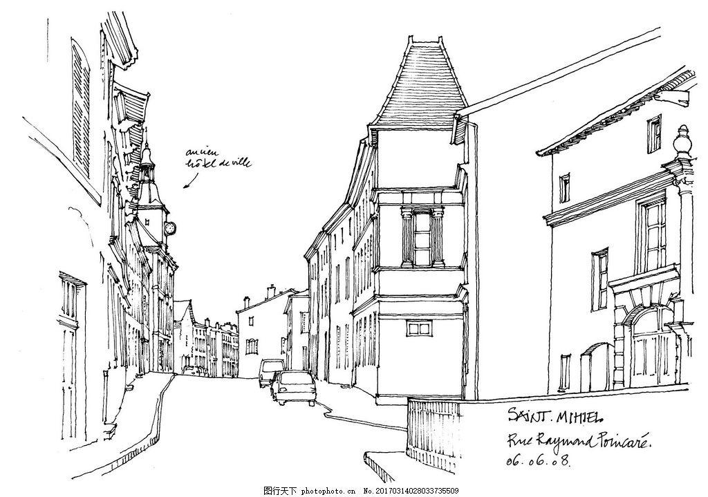 欧式建筑马路效果图 建筑平面图素材免费下载 手绘图 图纸 城堡