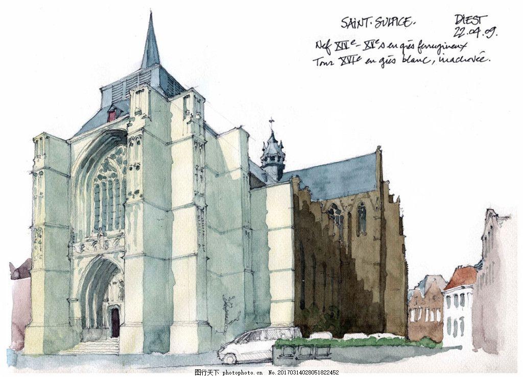 欧式建筑效果图 建筑平面图素材免费下载 手绘图 图纸 城堡 建筑施工