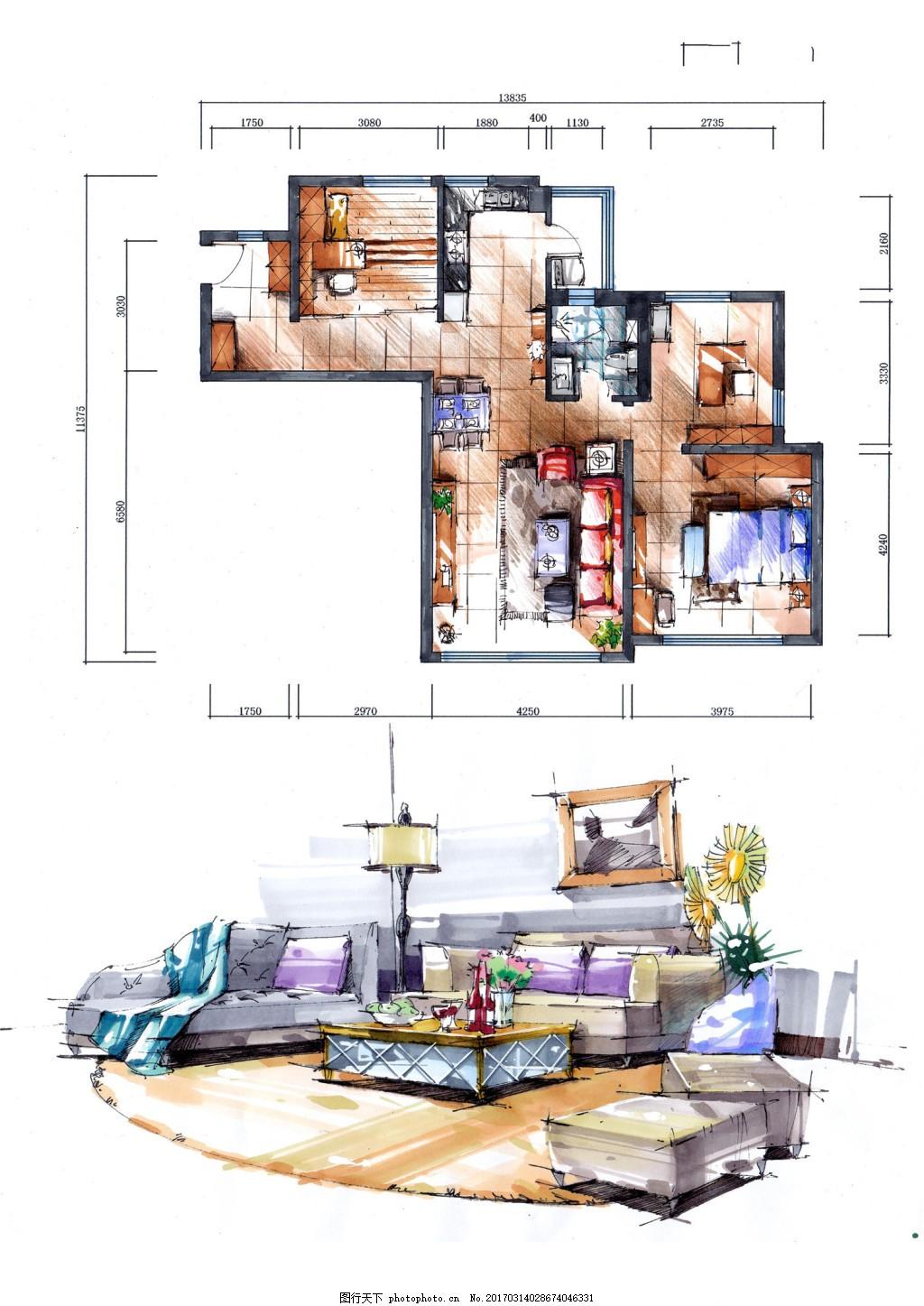 家装平面图 施工图 家装效果图免费下载 jpg 卧室 客厅 家具 欧式风格