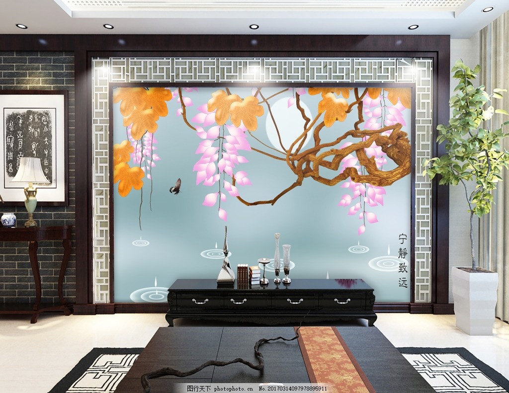 花卉树枝背景墙 壁纸 风景 高分辨率图片 高清大图 建筑 装饰