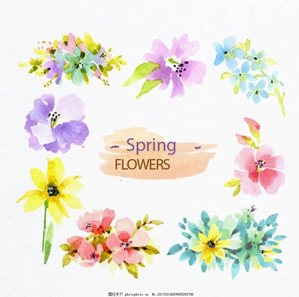手绘水彩春季花卉元素 春暖花开 春季促销 春季促销海报 春季大促销