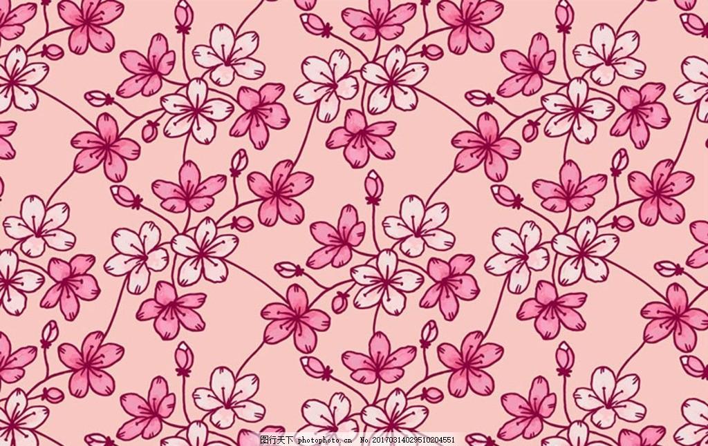 四方连续手绘樱花背景