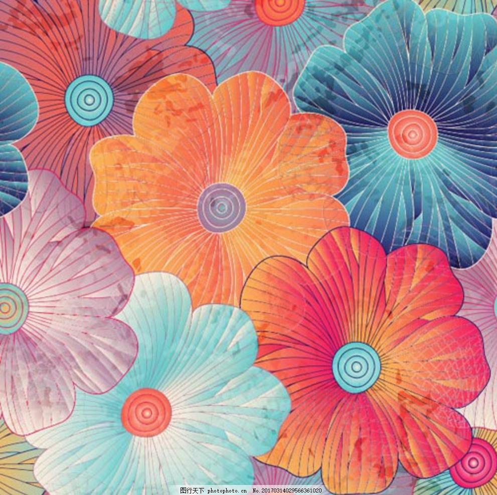 手绘水粉春季花卉
