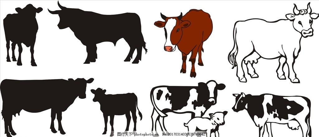 卡通牛 牛 卡通 剪影 剪影牛 黑白 野生动物 动物 奶牛 水牛 黄牛 cdr