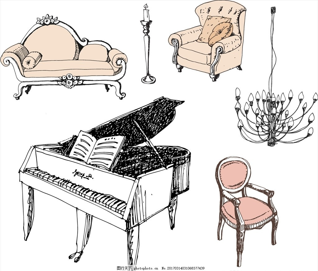 钢琴与沙发 素描 线描 草稿 草图 欧式 华丽 吊灯 支形吊灯 椅子 沙发