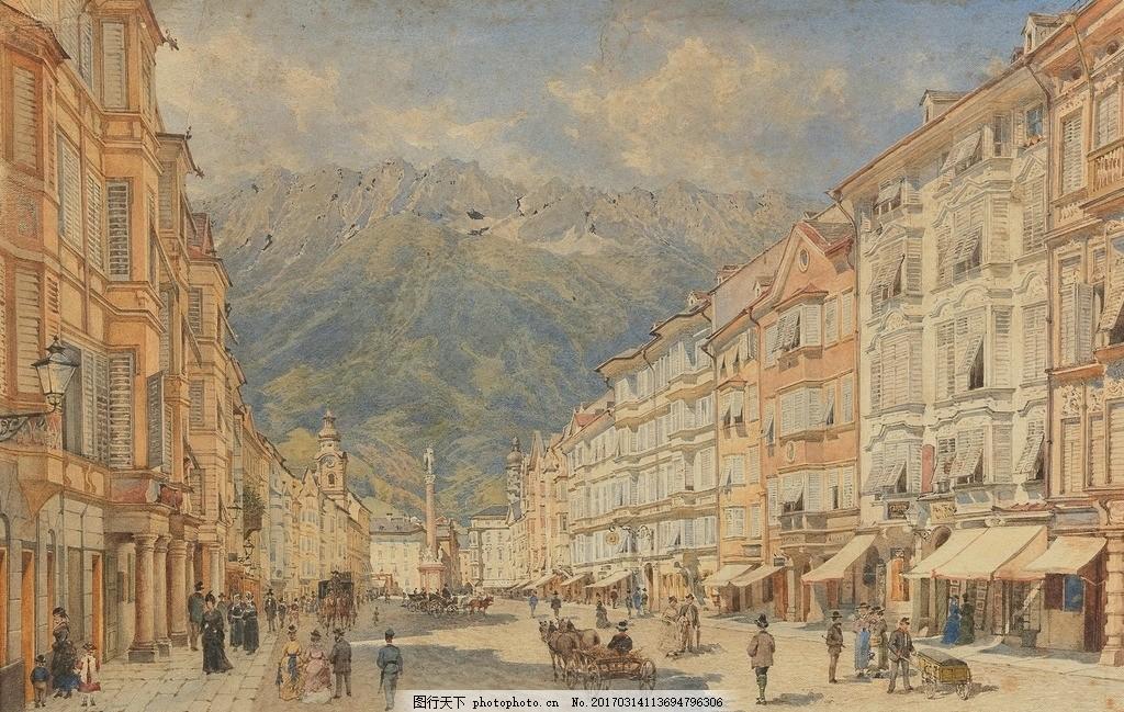 居民楼 远山 一排排 高层楼房 人来人往 19世纪水彩画 水彩画 设计