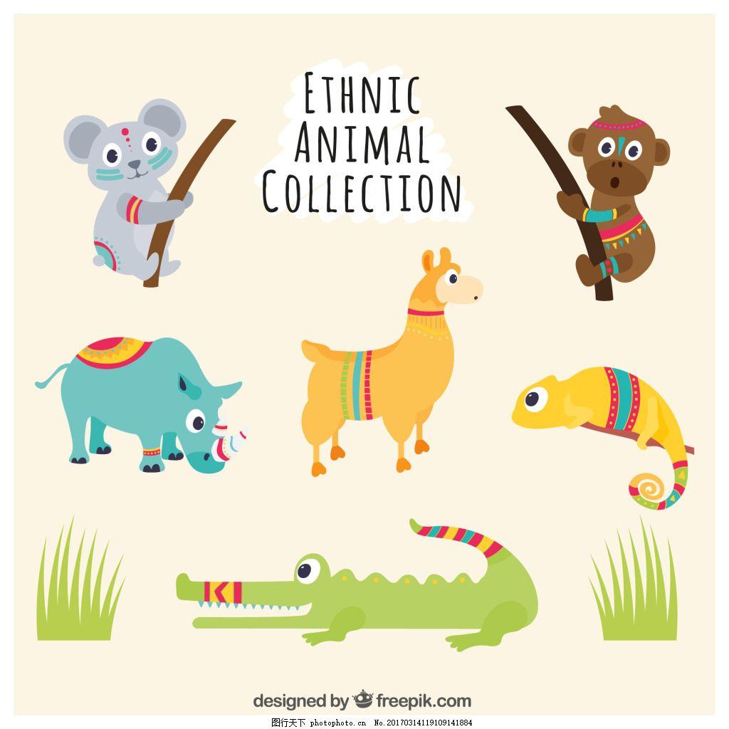 一组可爱卡通动物 元素 设计素材 创意设计 小动物 滑稽