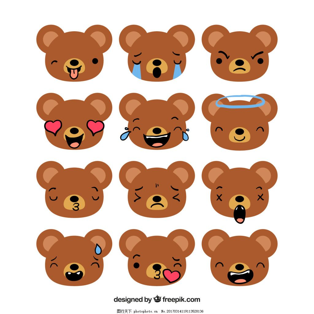一组棕色小熊表情包 可爱 卡通 卡哇伊 矢量素材 动物 小动物图片
