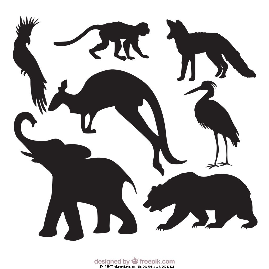 一组稀有动物剪影 元素 素材 创意设计 动物 小动物 保护动物 珍惜