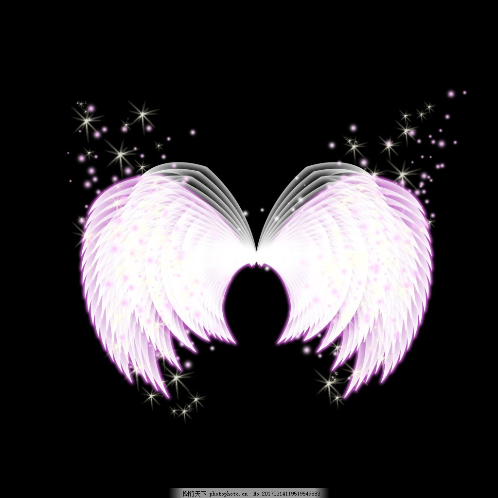 炫酷光效大天使翅膀 发光 梦幻 黑底素材 紫色