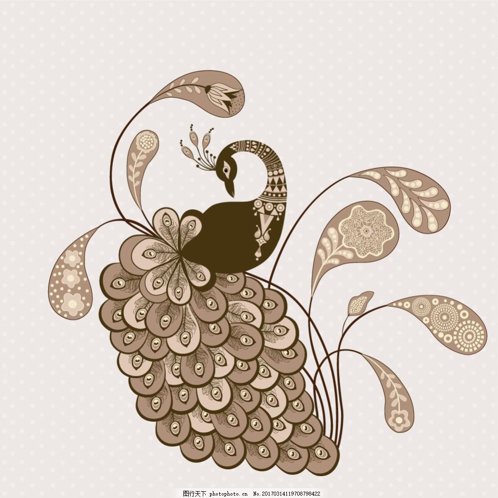 手绘个性孔雀装饰图