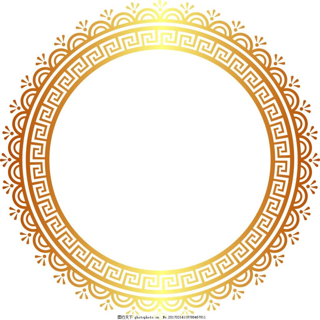 圆形花边回形纹样 圆形纹样 中国传统纹样 中国风图案 回形纹 花边 cd图片