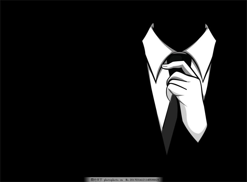 商务ppt背景元素 衣服 领带 黑色背景图