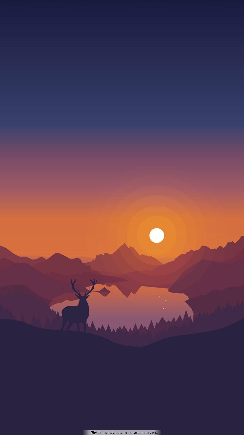 简约湖面夕阳风景矢量插图设计