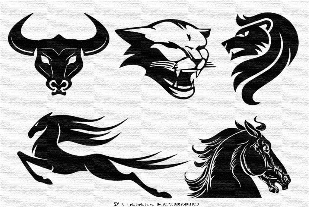 版画素材黑白简单动物