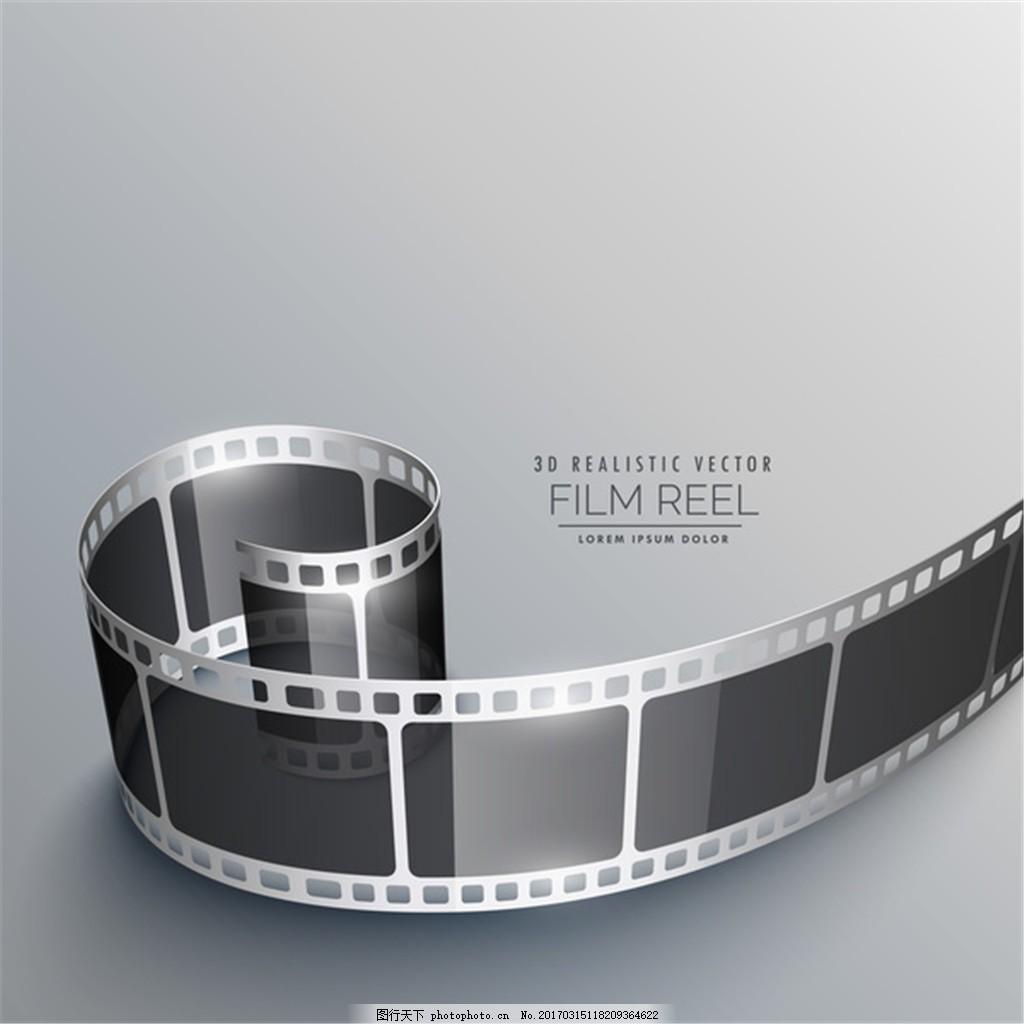 3d电影胶片卷轴背景矢量素材下载