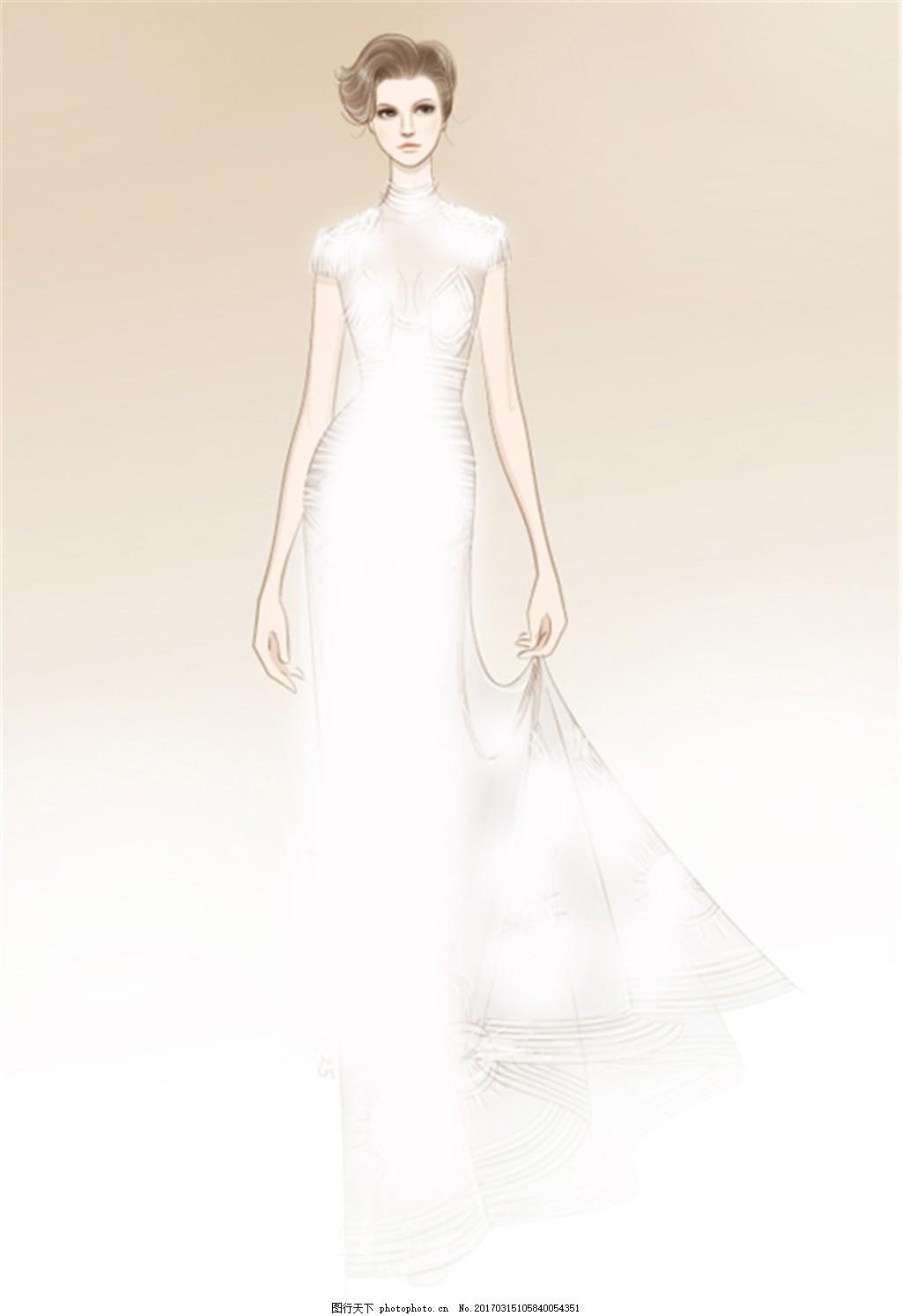 白色长裙礼服设计图