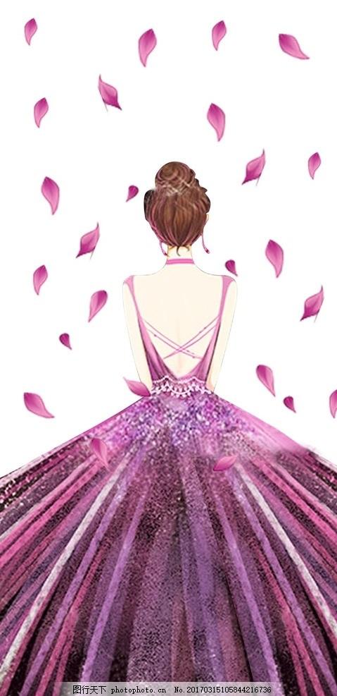 婚纱背影女孩 婚纱 紫色 背影 裙子 花瓣 设计 文化艺术 其他 cdr