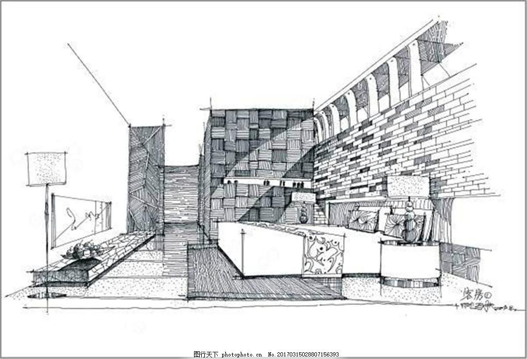 手绘豪华客房装修效果图 室内设计 工装效果图 工装平面图 施工图 工