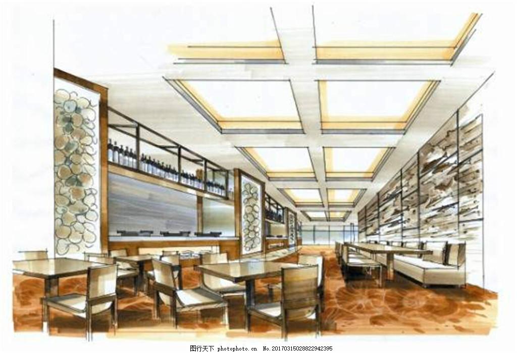 欧式餐厅装修效果图 室内设计 工装效果图 工装平面图 施工图 工装