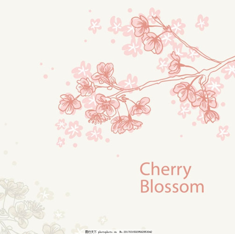 手绘线稿春季樱花桃花
