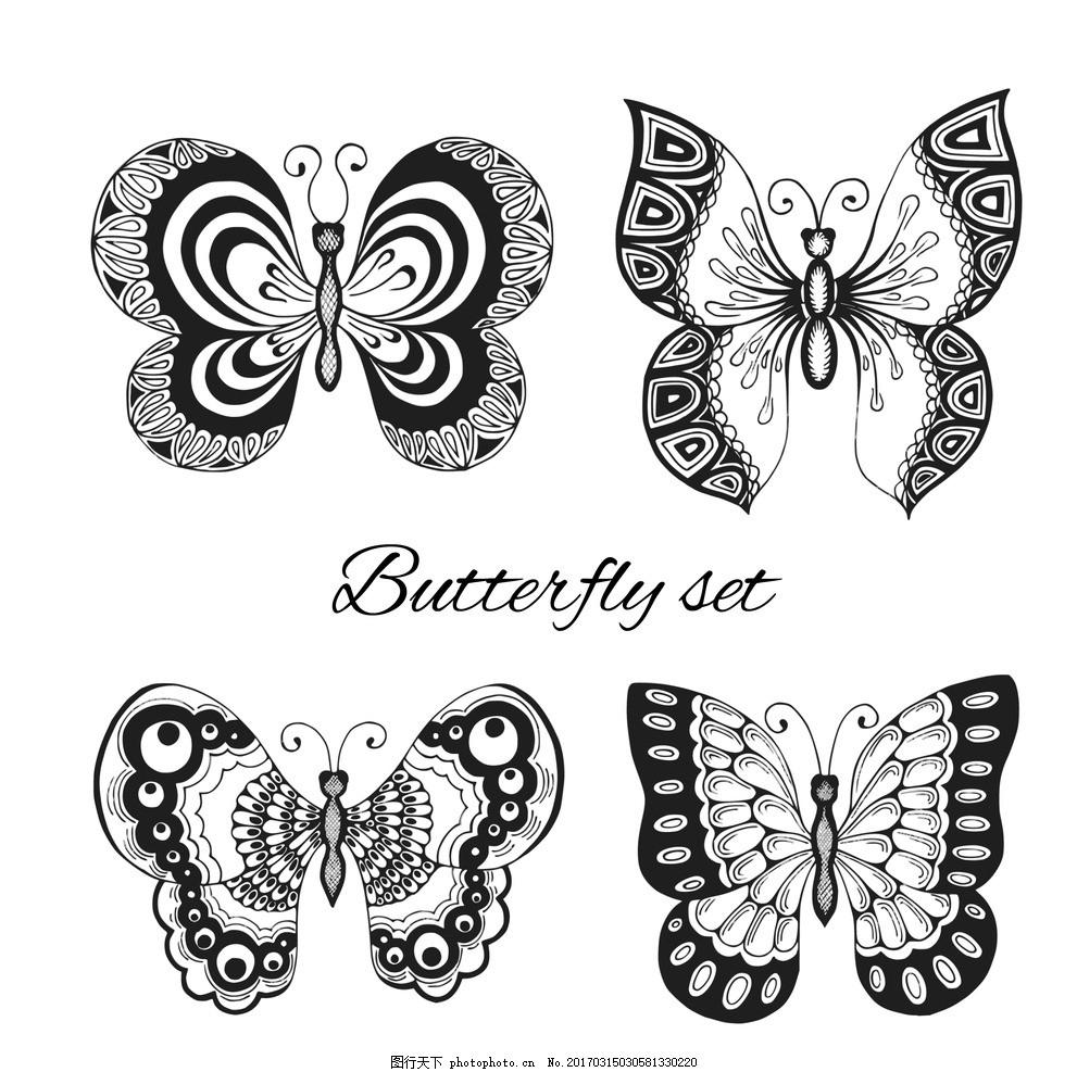 卡通蝴蝶黑白矢量 矢量手绘 卡通动物公仔 动物形象 插画 猫头鹰