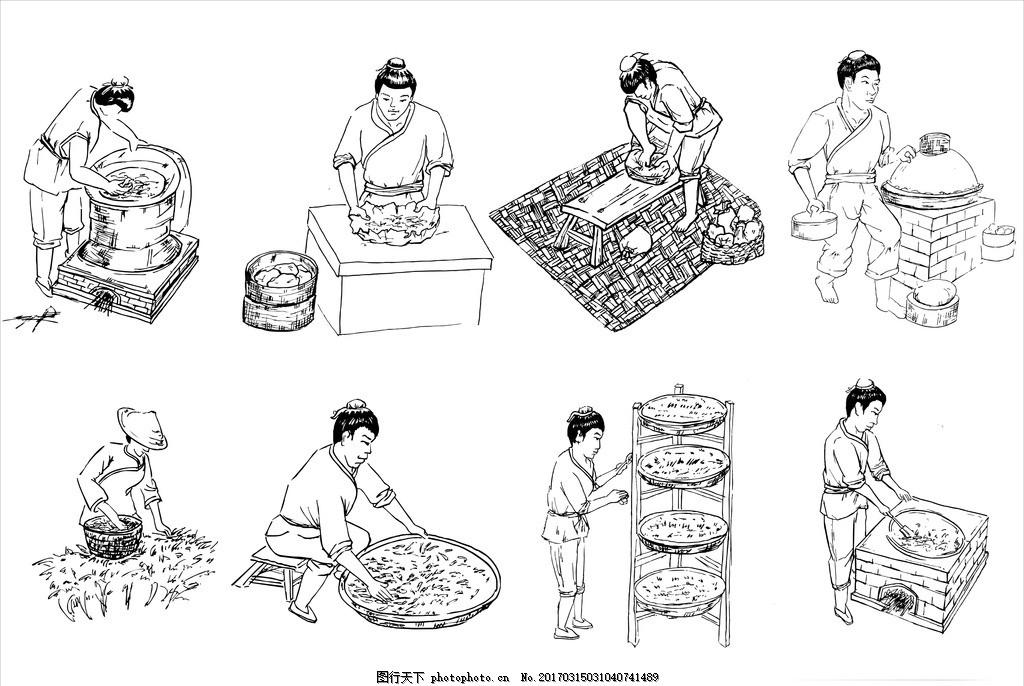 茶叶加工 茶叶制作 茶文化 茶道 茶叶素材 手绘茶叶加工 矢量文件