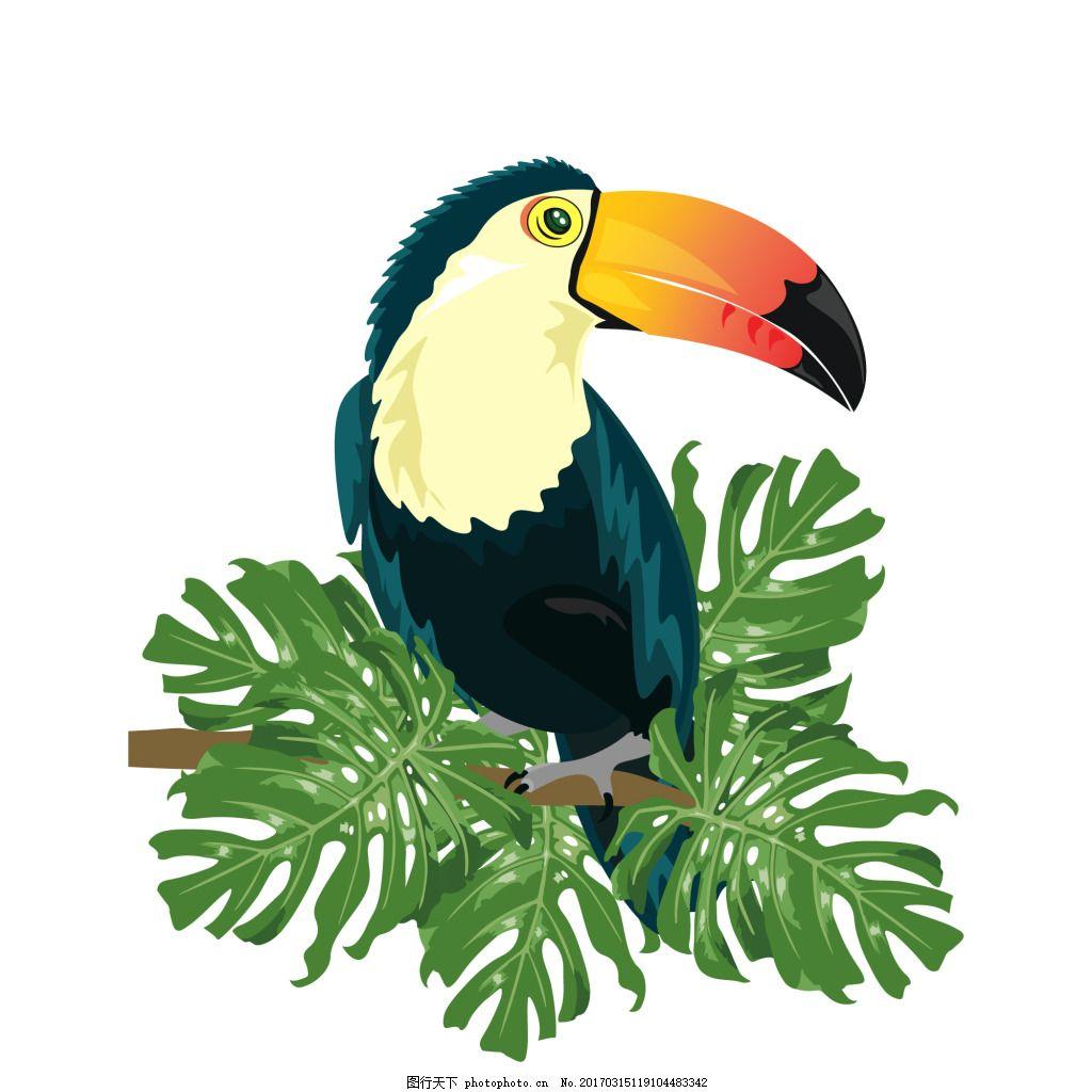 绿树枝上的可爱大嘴鹦鹉 元素 设计素材 创意设计 动物 小动物