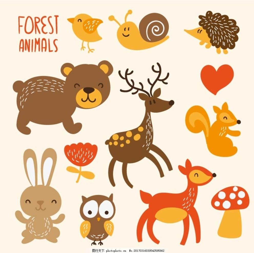 熊猫 猪牛羊 鸡鸭鹅 奶牛 狐狸 动物插画 动物园 幼儿园 可爱动物