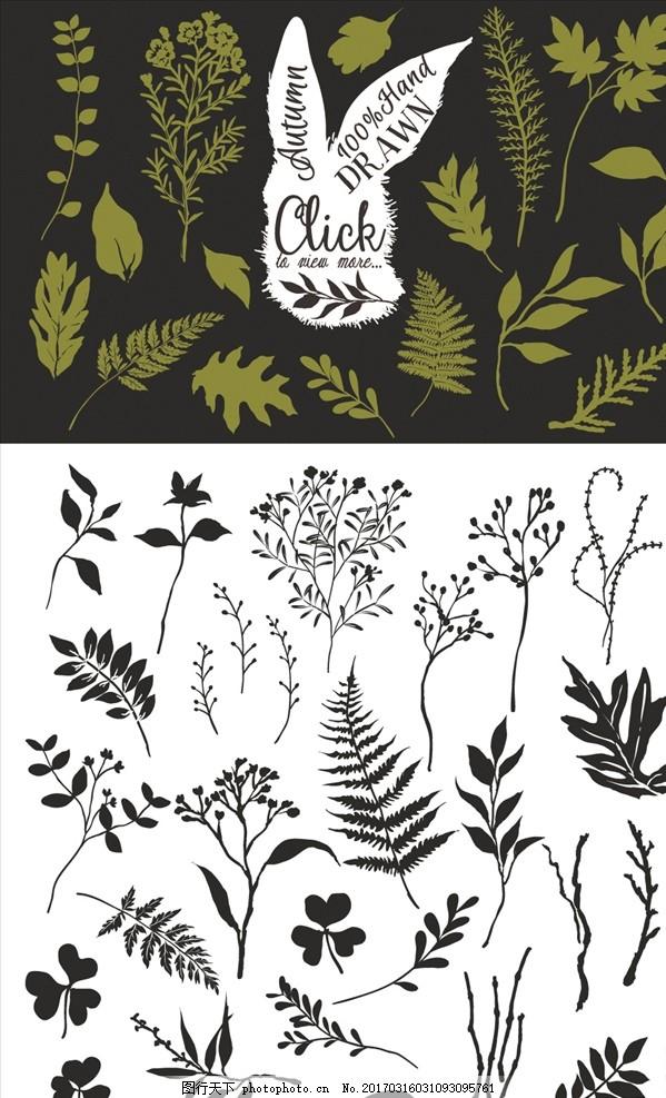 黑白手绘草叶图案剪影 树叶 叶子 叶片 蕨菜 枫叶 绿叶 四叶草
