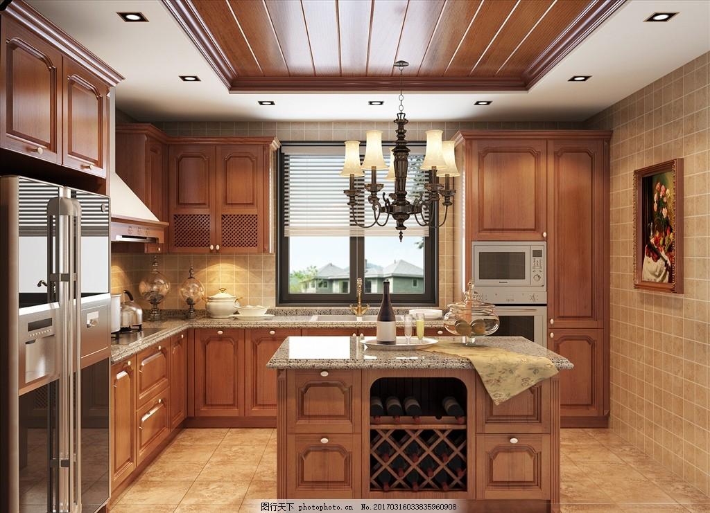 3d深色厨房效果图