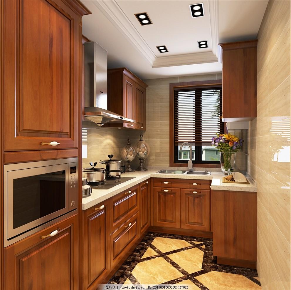 厨房3d图 橱柜 实木 效果图 装修 装饰 做饭 石英石 浅色木纹