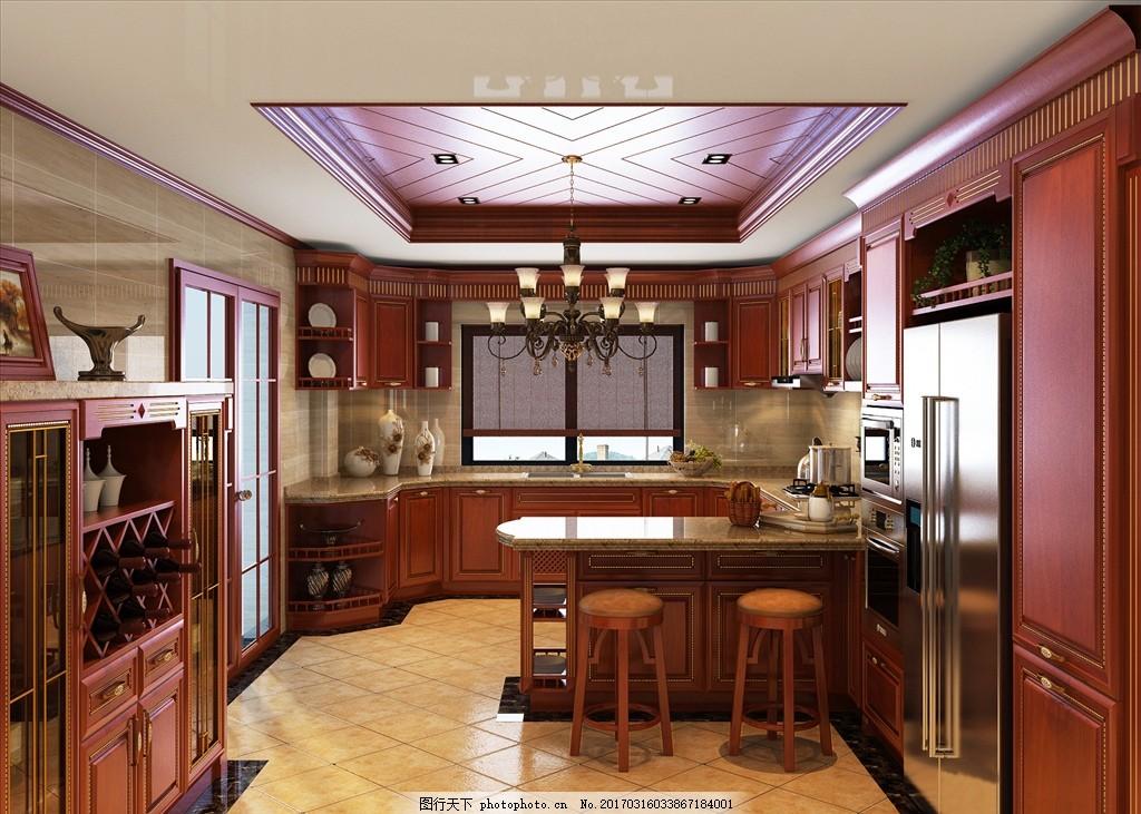 实木厨房效果图      餐厅 实木 装修 装饰 3d 效果 做饭 实木酒柜 简