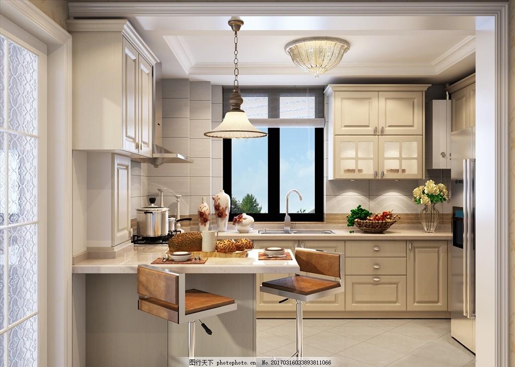 吊顶 地砖 吊灯 水池 烟机 灶具 饰品 转椅 厨房效果图 橱柜方案 冰箱